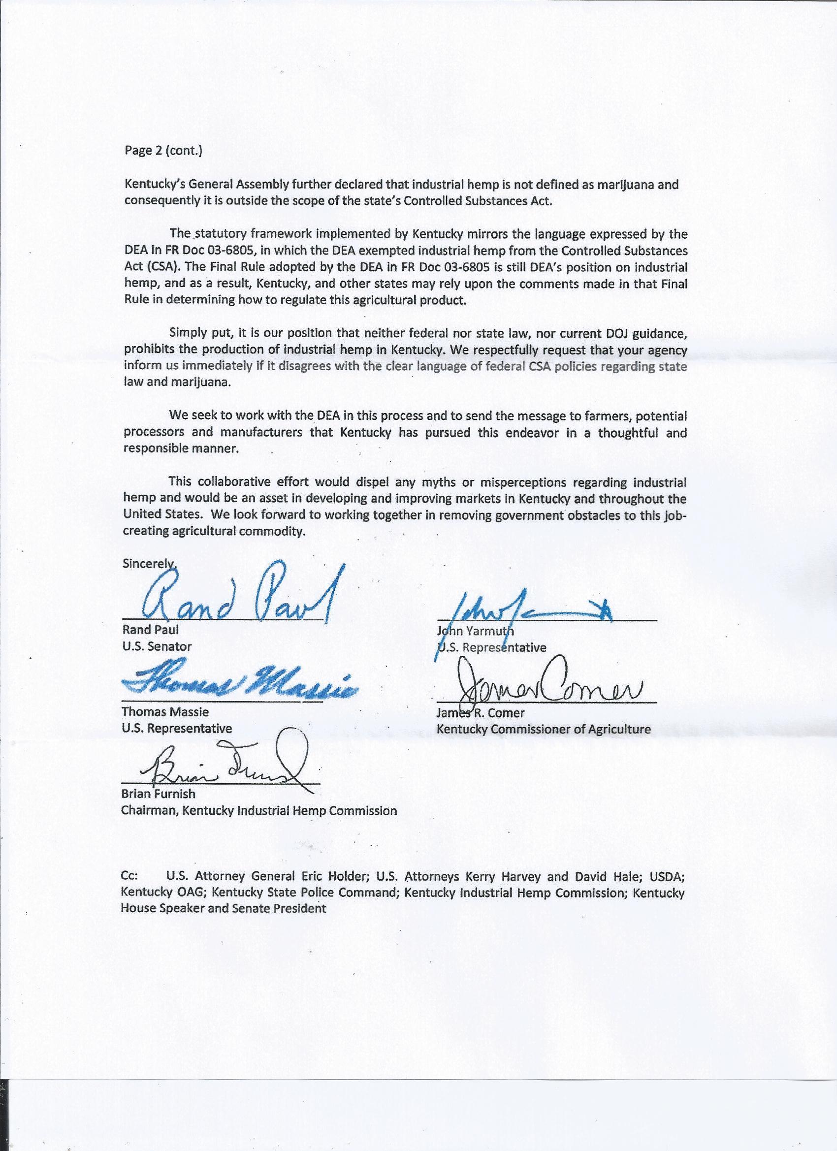 kentucky hemp leaders raise the bar kentucky for hemp ag department letter